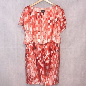 Vince Camuto Plus Orange Print Abstract Dress 14